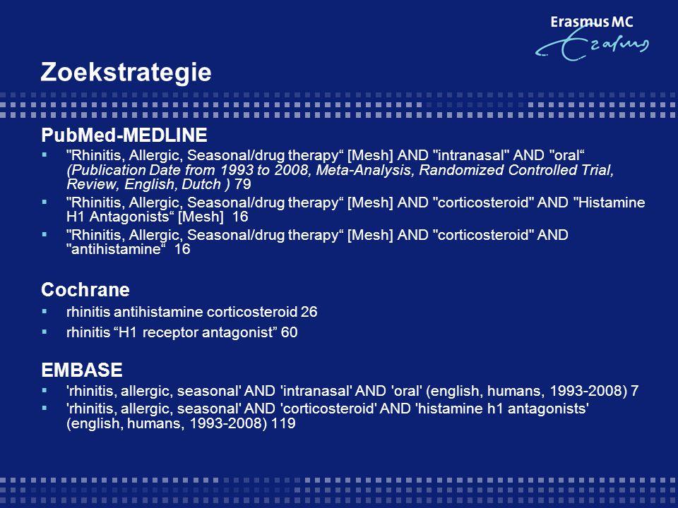 Resultaten  'Exclusie' artikelen: - vergelijking alleen met placebo (antihistaminicum vs placebo) - antihistamine neusspray vs corticosteroid neusspray - vergelijking ander medicijn van zelfde soort (cortico vs cortico) - vergelijking met leukotrienreceptorantagonist (cortico vs LRA) - vergelijking met combinatietherapie (cortico vs cortico/H1RA) - uitkomst mbt: asthma of kinderen of alleen oogsymptomen  11 Artikelen wv 9 RCT's en 2 Reviews (geen cochrane review)  Deel niet beschikbaar