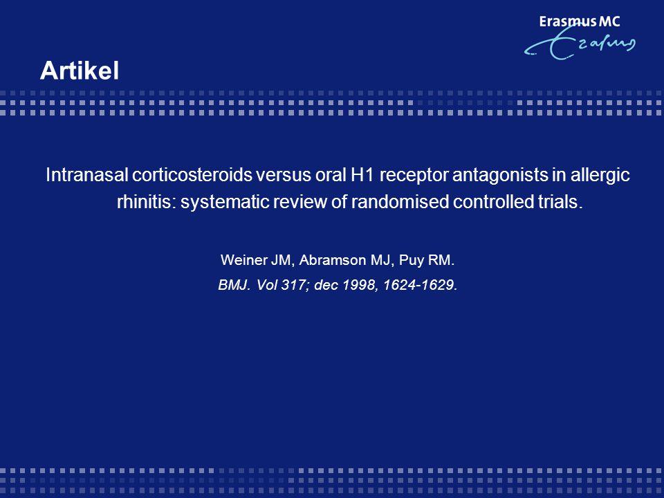 Artikel - Validiteit 1.Vraagstelling effectiviteit van intranasale neusspray i.v.m.