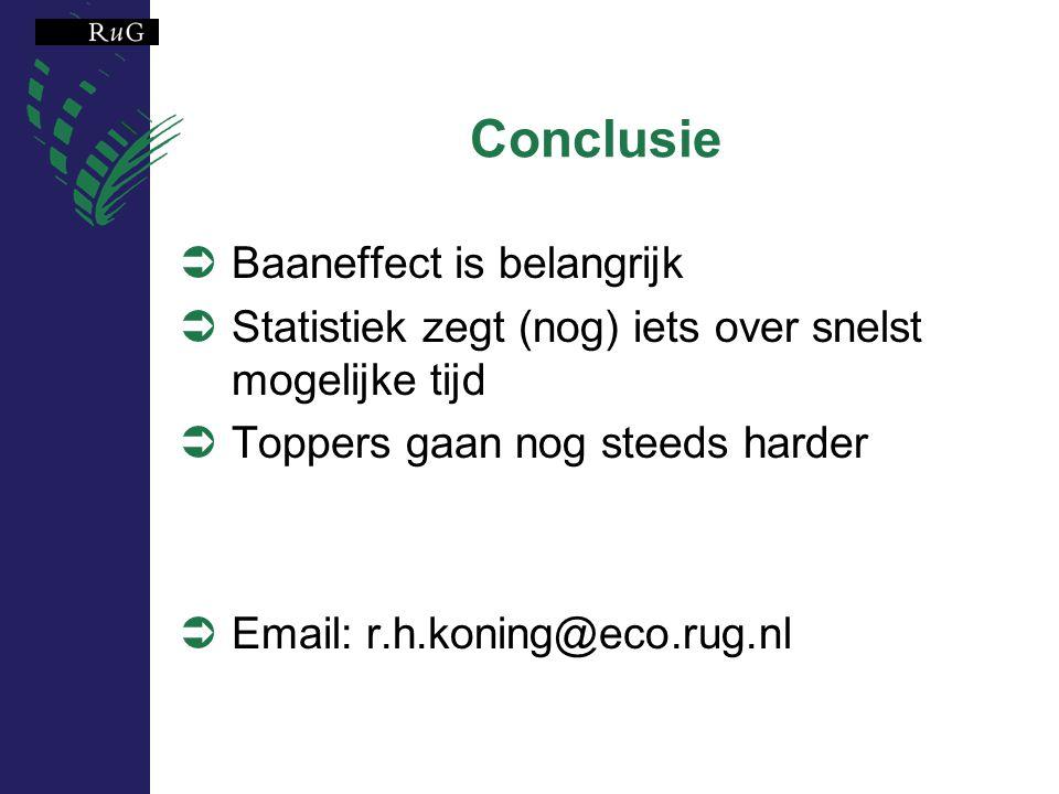 Conclusie  Baaneffect is belangrijk  Statistiek zegt (nog) iets over snelst mogelijke tijd  Toppers gaan nog steeds harder  Email: r.h.koning@eco.rug.nl