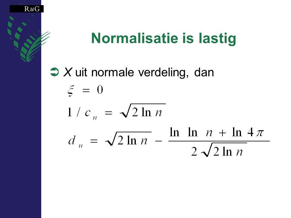 Normalisatie is lastig  X uit normale verdeling, dan