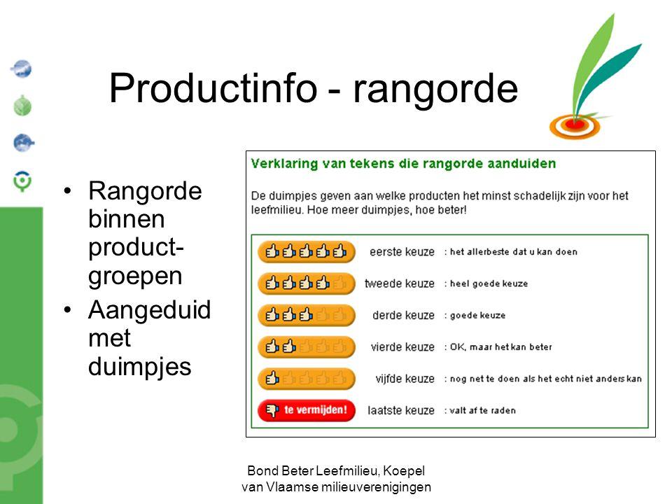 Bond Beter Leefmilieu, Koepel van Vlaamse milieuverenigingen Productinfo - rangorde Rangorde binnen product- groepen Aangeduid met duimpjes
