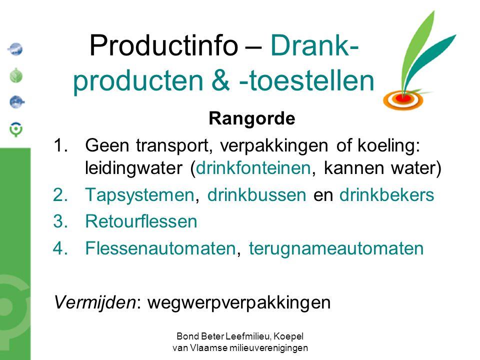 Bond Beter Leefmilieu, Koepel van Vlaamse milieuverenigingen Productinfo – Drank- producten & -toestellen Rangorde 1.Geen transport, verpakkingen of k