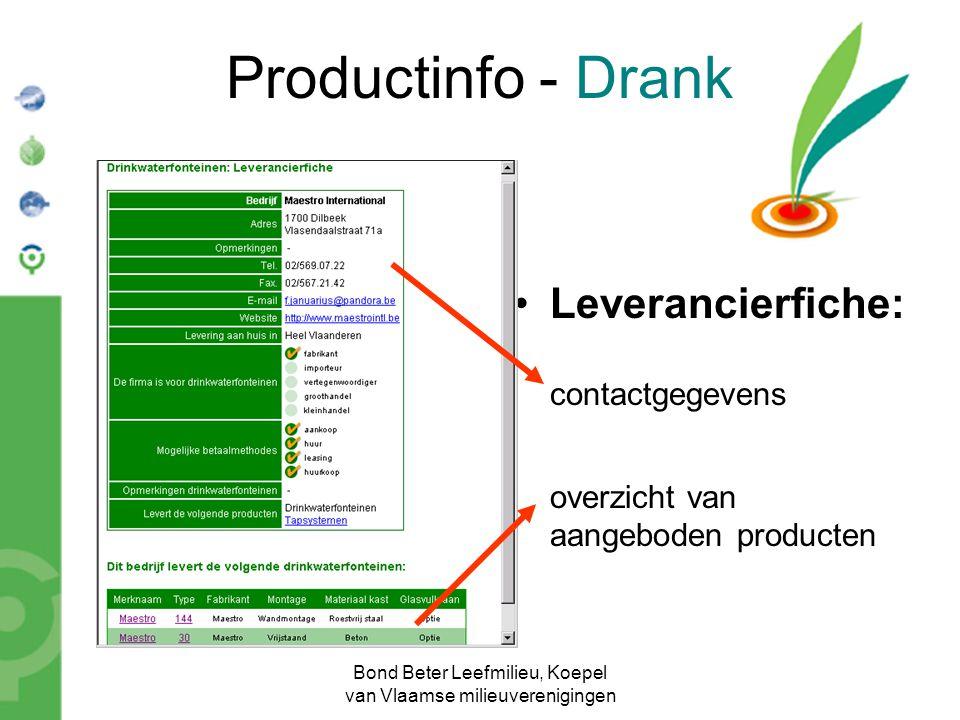 Bond Beter Leefmilieu, Koepel van Vlaamse milieuverenigingen Productinfo - Drank Leverancierfiche: contactgegevens overzicht van aangeboden producten