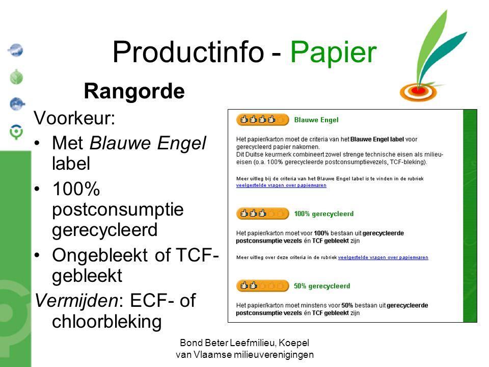Bond Beter Leefmilieu, Koepel van Vlaamse milieuverenigingen Productinfo - Papier Rangorde Voorkeur: Met Blauwe Engel label 100% postconsumptie gerecy
