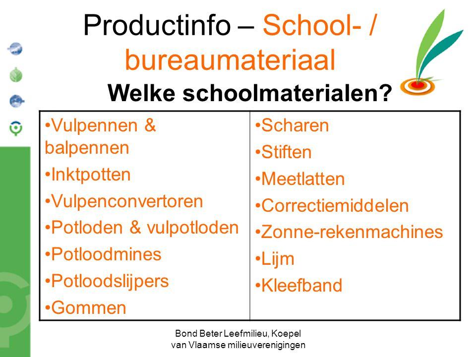 Bond Beter Leefmilieu, Koepel van Vlaamse milieuverenigingen Welke schoolmaterialen? Vulpennen & balpennen Inktpotten Vulpenconvertoren Potloden & vul