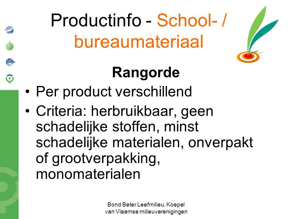 Bond Beter Leefmilieu, Koepel van Vlaamse milieuverenigingen Productinfo - School- / bureaumateriaal Rangorde Per product verschillend Criteria: herbr