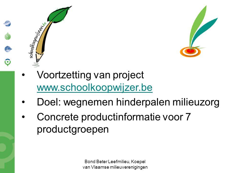 Bond Beter Leefmilieu, Koepel van Vlaamse milieuverenigingen Voortzetting van project www.schoolkoopwijzer.be Doel: wegnemen hinderpalen milieuzorg Co
