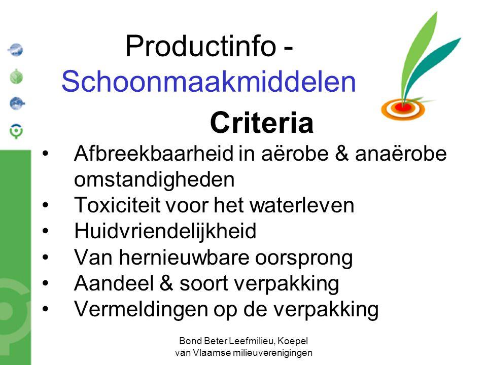 Bond Beter Leefmilieu, Koepel van Vlaamse milieuverenigingen Productinfo - Schoonmaakmiddelen Criteria Afbreekbaarheid in aërobe & anaërobe omstandigh