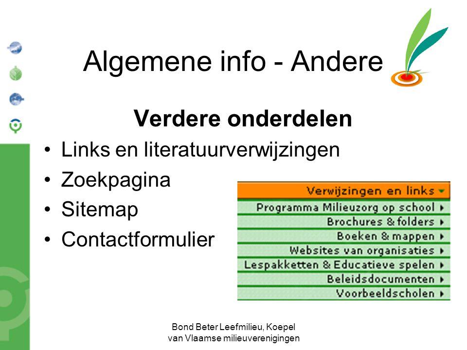 Bond Beter Leefmilieu, Koepel van Vlaamse milieuverenigingen Algemene info - Andere Verdere onderdelen Links en literatuurverwijzingen Zoekpagina Site