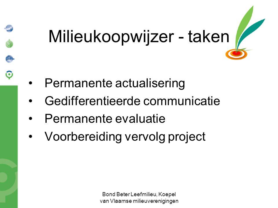Bond Beter Leefmilieu, Koepel van Vlaamse milieuverenigingen Milieukoopwijzer - taken Permanente actualisering Gedifferentieerde communicatie Permanen