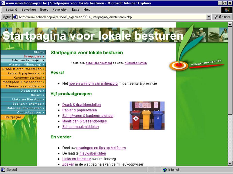 Bond Beter Leefmilieu, Koepel van Vlaamse milieuverenigingen Startpagina voor lokale besturen