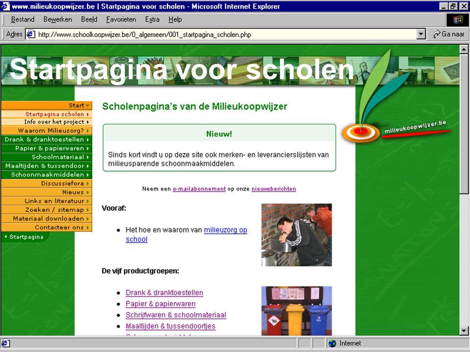 Bond Beter Leefmilieu, Koepel van Vlaamse milieuverenigingen Menu links: Productinfo: groen Algemene info: oranje