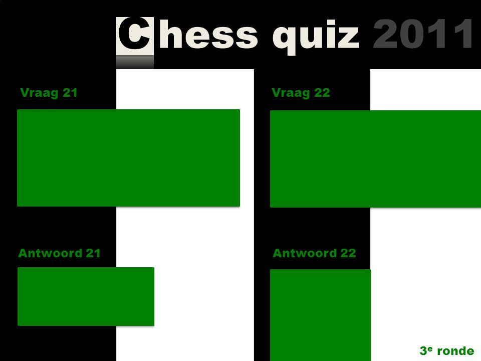 hess quiz 2011 C Vraag 19 Antwoord 19 De A-, B-, en C-groep van Corus Chess 2010 hadden ongedeelde winaars; hoe oud waren zij? A 19 B 15 C 20 OPE Vraa
