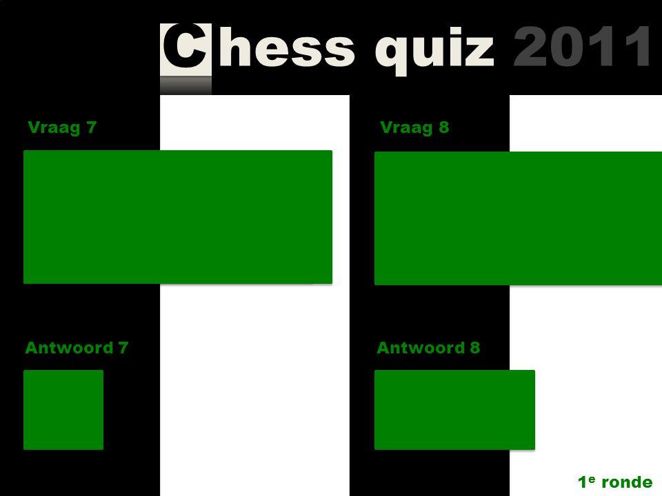 hess quiz 2011 C Vraag 5 Antwoord 5 Hoeveel vrouwen speelden in de A-, B- en C-groep van Corus Chess 2010? 0 – 1 – 3 OPE Vraag 6 Antwoord 6 Wat is de