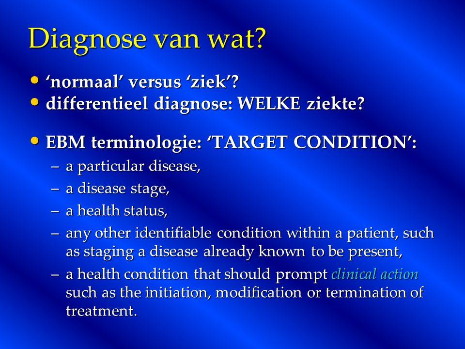 Diagnose van wat? 'normaal' versus 'ziek'? 'normaal' versus 'ziek'? differentieel diagnose: WELKE ziekte? differentieel diagnose: WELKE ziekte? EBM te