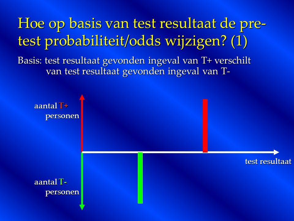 Hoe op basis van test resultaat de pre- test probabiliteit/odds wijzigen? (1) Basis: test resultaat gevonden ingeval van T+ verschilt van test resulta