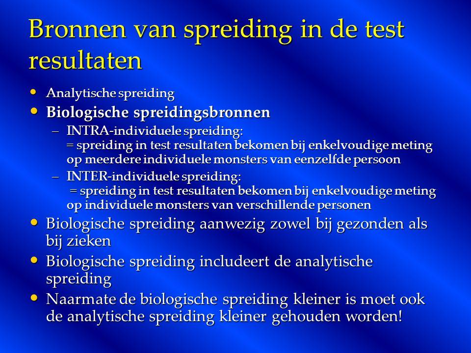 Bronnen van spreiding in de test resultaten Analytische spreiding Analytische spreiding Biologische spreidingsbronnen Biologische spreidingsbronnen –I