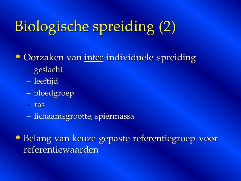 Biologische spreiding (2) Oorzaken van inter-individuele spreiding Oorzaken van inter-individuele spreiding –geslacht –leeftijd –bloedgroep –ras –lich