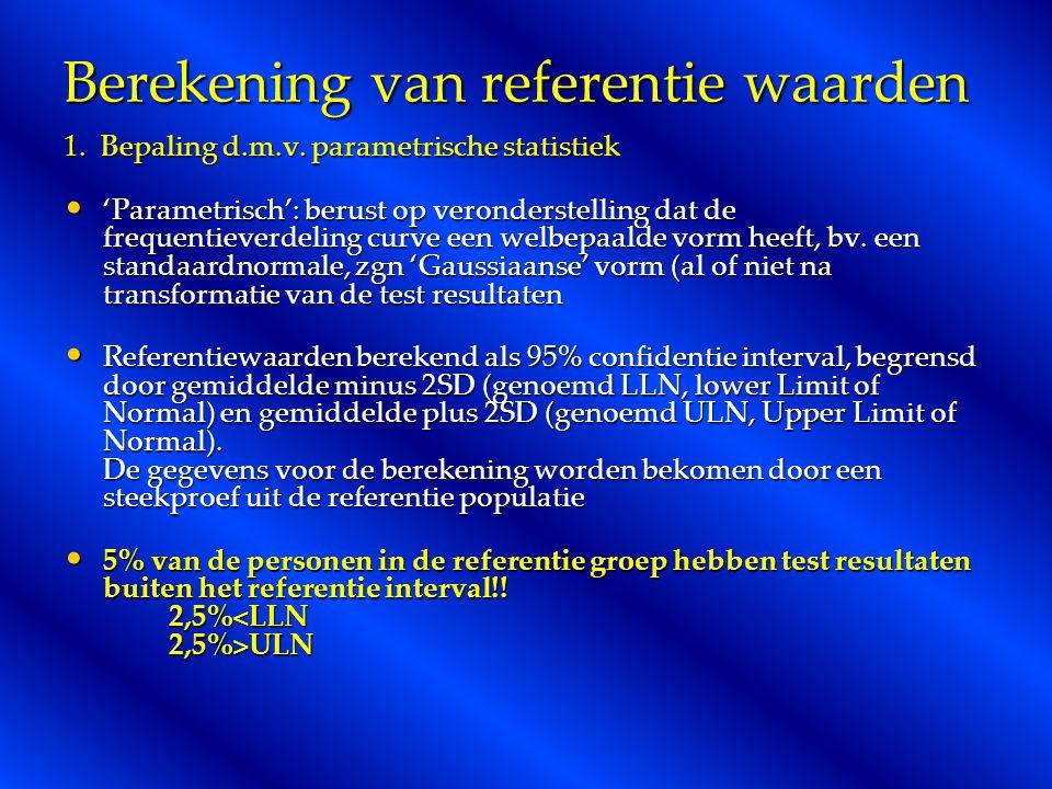 Berekening van referentie waarden 1.Bepaling d.m.v.