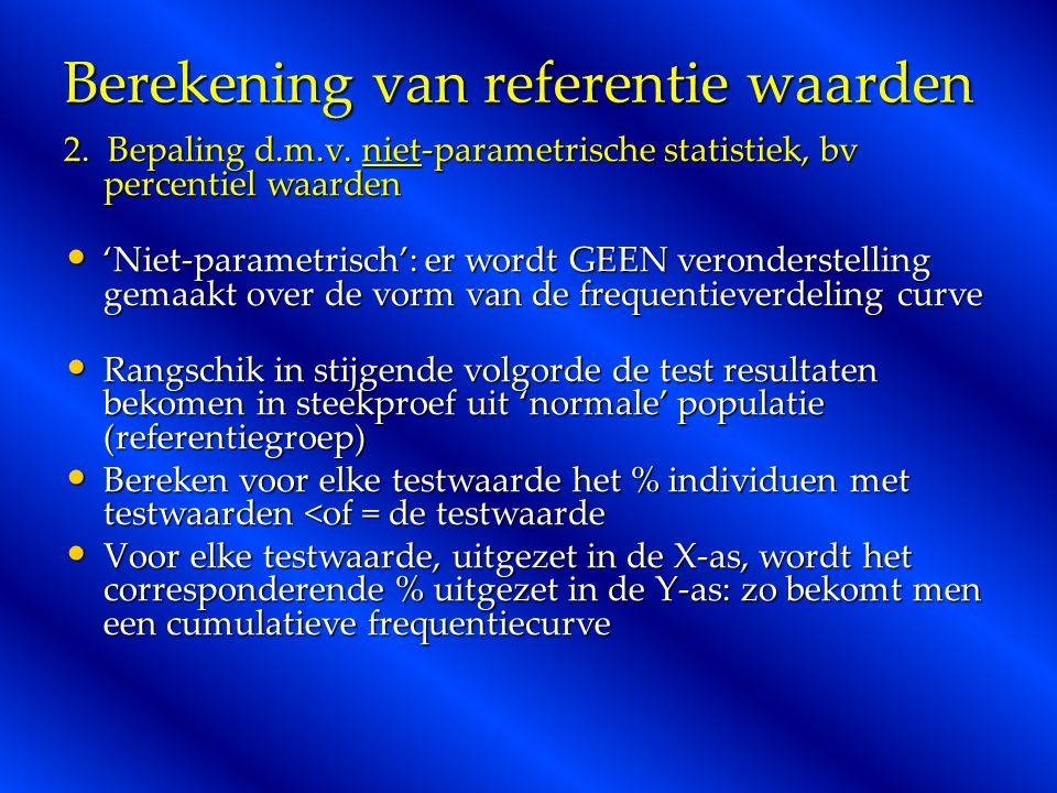 Berekening van referentie waarden 2. Bepaling d.m.v. niet-parametrische statistiek, bv percentiel waarden 'Niet-parametrisch': er wordt GEEN veronders