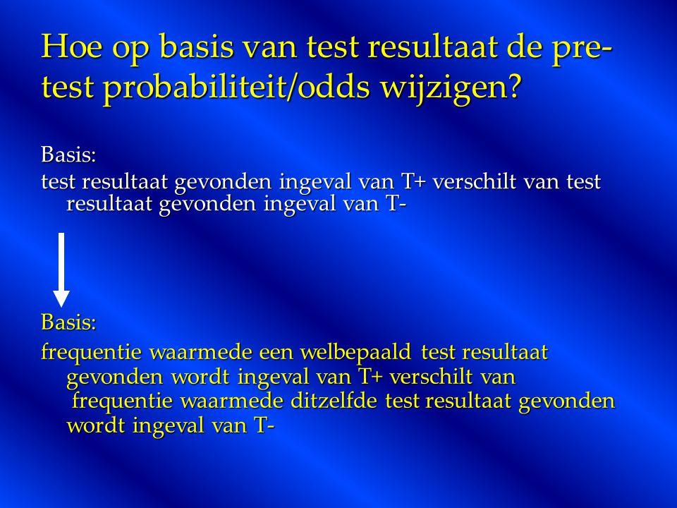 Hoe op basis van test resultaat de pre- test probabiliteit/odds wijzigen? Basis: test resultaat gevonden ingeval van T+ verschilt van test resultaat g