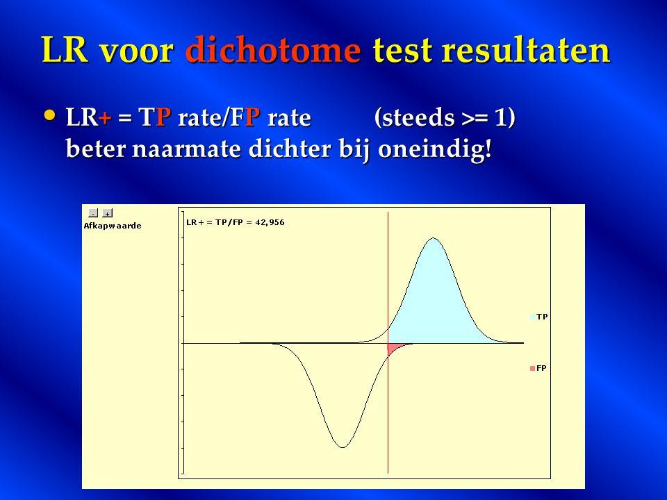 LR voor dichotome test resultaten LR+ = TP rate/FP rate(steeds >= 1) beter naarmate dichter bij oneindig! LR+ = TP rate/FP rate(steeds >= 1) beter naa