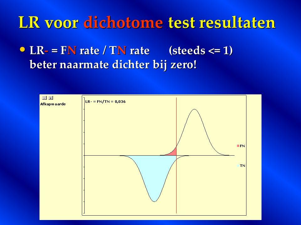 LR voor dichotome test resultaten LR- = FN rate / TN rate(steeds <= 1) beter naarmate dichter bij zero! LR- = FN rate / TN rate(steeds <= 1) beter naa
