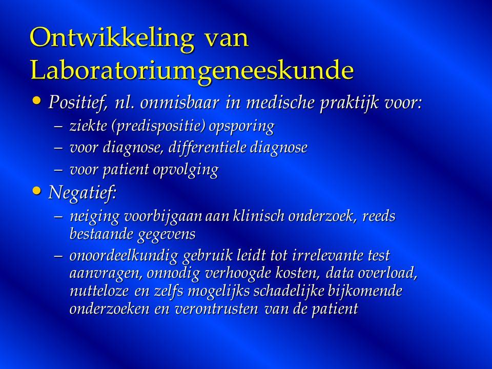 Ontwikkeling van Laboratoriumgeneeskunde Positief, nl. onmisbaar in medische praktijk voor: Positief, nl. onmisbaar in medische praktijk voor: –ziekte