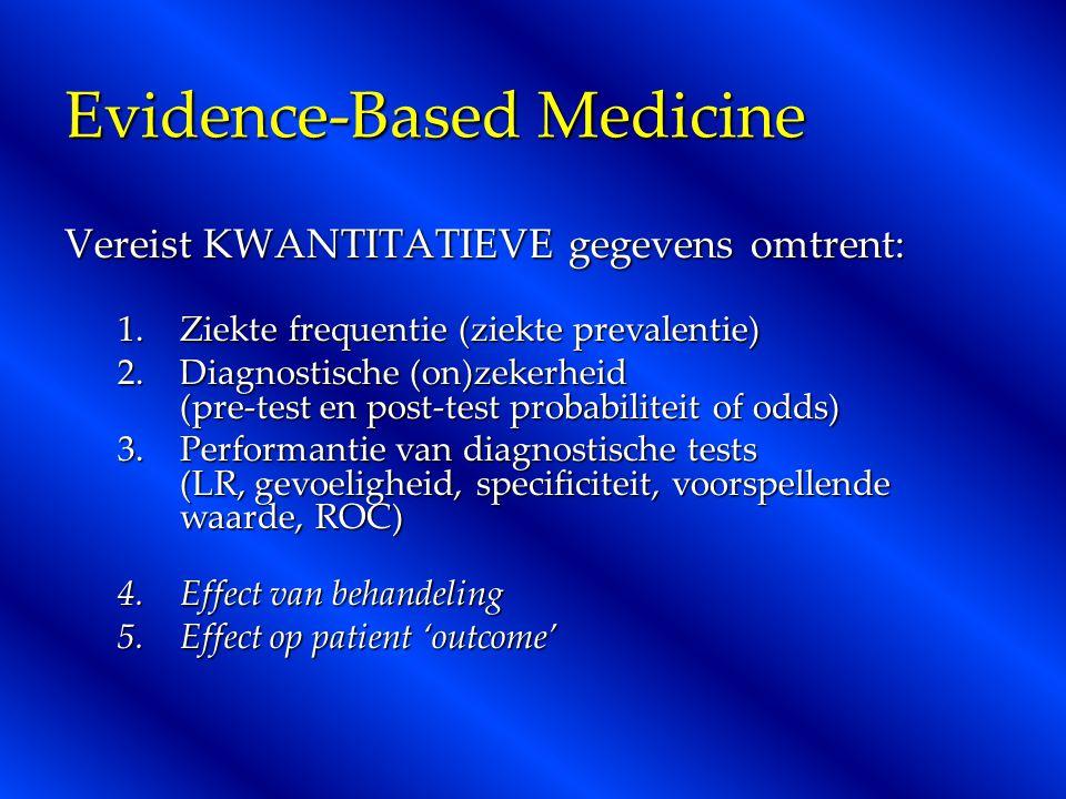 Evidence-Based Medicine Vereist KWANTITATIEVE gegevens omtrent: 1.Ziekte frequentie (ziekte prevalentie) 2.Diagnostische (on)zekerheid (pre-test en post-test probabiliteit of odds) 3.Performantie van diagnostische tests (LR, gevoeligheid, specificiteit, voorspellende waarde, ROC) 4.Effect van behandeling 5.Effect op patient 'outcome'