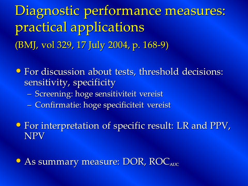 Diagnostic performance measures: practical applications (BMJ, vol 329, 17 July 2004, p.