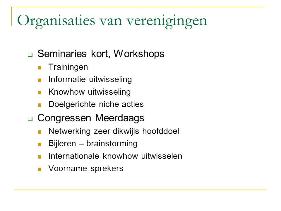Organisaties van verenigingen  Seminaries kort, Workshops Trainingen Informatie uitwisseling Knowhow uitwisseling Doelgerichte niche acties  Congres