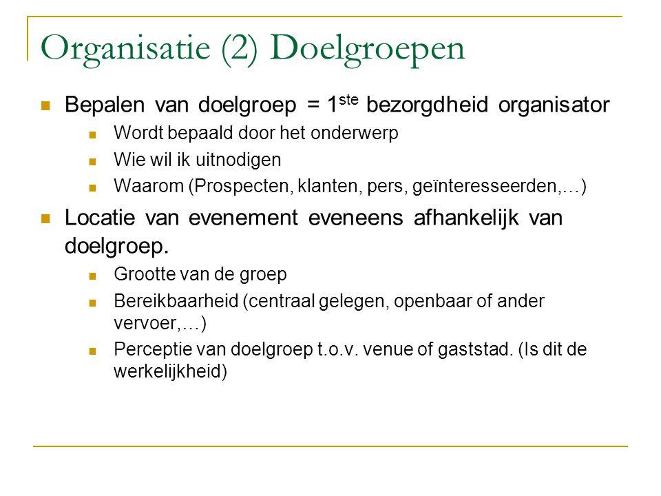 Organisatie (2) Doelgroepen Bepalen van doelgroep = 1 ste bezorgdheid organisator Wordt bepaald door het onderwerp Wie wil ik uitnodigen Waarom (Prosp