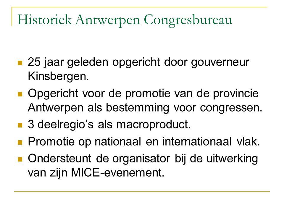 Historiek Antwerpen Congresbureau 25 jaar geleden opgericht door gouverneur Kinsbergen. Opgericht voor de promotie van de provincie Antwerpen als best