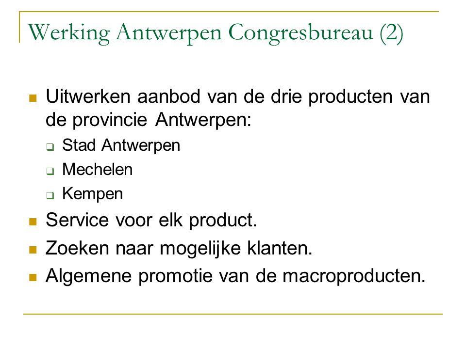 Werking Antwerpen Congresbureau (2) Uitwerken aanbod van de drie producten van de provincie Antwerpen:  Stad Antwerpen  Mechelen  Kempen Service vo