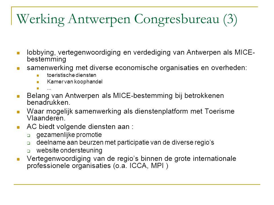 Werking Antwerpen Congresbureau (3) lobbying, vertegenwoordiging en verdediging van Antwerpen als MICE- bestemming samenwerking met diverse economisch