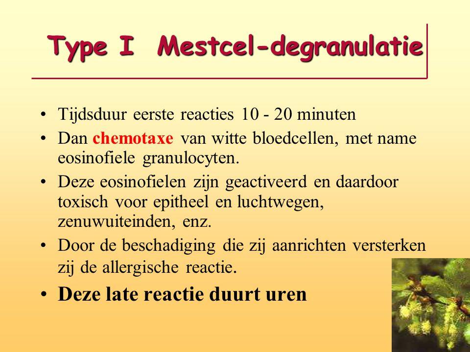 Type I Mestcel-degranulatie Tijdsduur eerste reacties 10 - 20 minuten Dan chemotaxe van witte bloedcellen, met name eosinofiele granulocyten. Deze eos