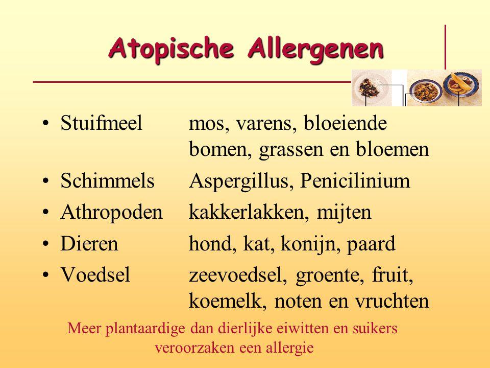 Atopische Allergenen Stuifmeelmos, varens, bloeiende bomen, grassen en bloemen SchimmelsAspergillus, Penicilinium Athropodenkakkerlakken, mijten Diere
