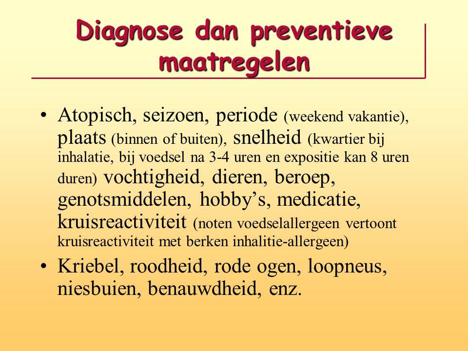 Diagnose dan preventieve maatregelen Atopisch, seizoen, periode (weekend vakantie), plaats (binnen of buiten), snelheid (kwartier bij inhalatie, bij v