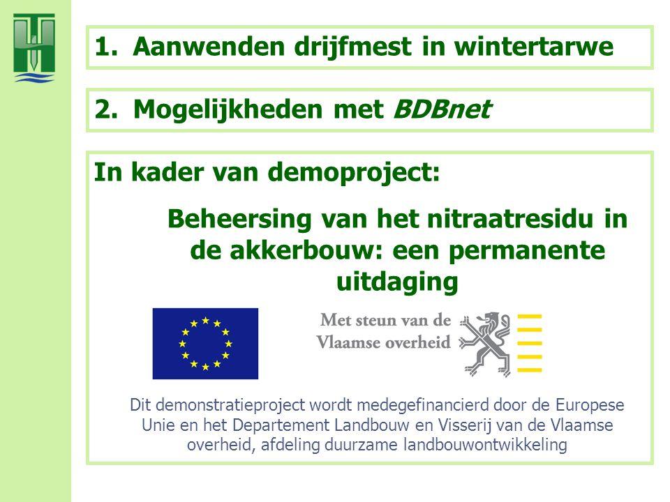 1.Aanwenden drijfmest in wintertarwe 2.Mogelijkheden met BDBnet Dit demonstratieproject wordt medegefinancierd door de Europese Unie en het Departemen