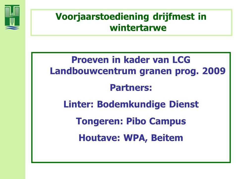 Proeven in kader van LCG Landbouwcentrum granen prog. 2009 Partners: Linter: Bodemkundige Dienst Tongeren: Pibo Campus Houtave: WPA, Beitem Voorjaarst