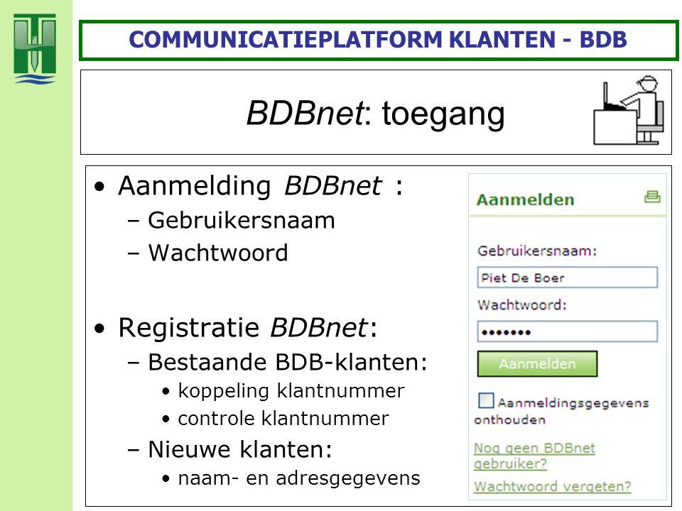 BDBnet: toegang Aanmelding BDBnet : –Gebruikersnaam –Wachtwoord Registratie BDBnet: –Bestaande BDB-klanten: koppeling klantnummer controle klantnummer