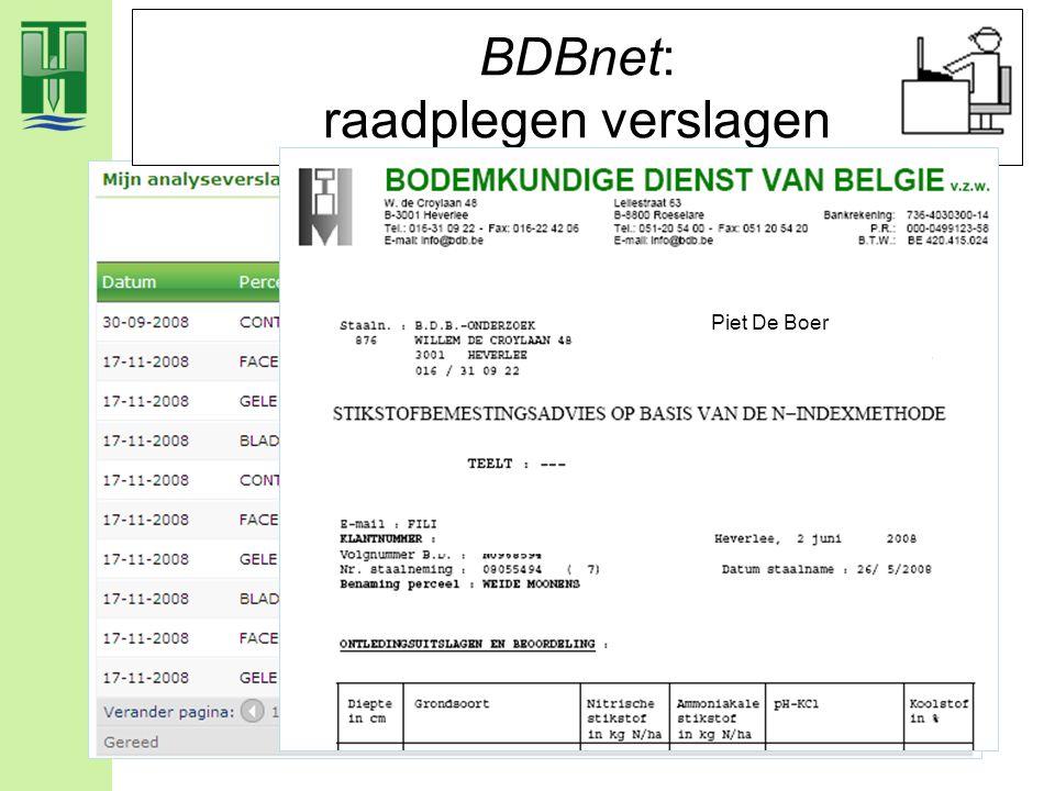 BDBnet: raadplegen verslagen Piet De Boer