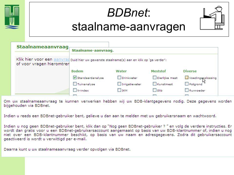 BDBnet: staalname-aanvragen