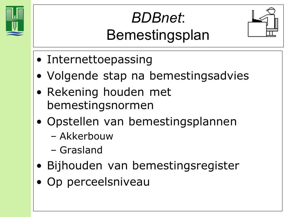 BDBnet: Bemestingsplan Internettoepassing Volgende stap na bemestingsadvies Rekening houden met bemestingsnormen Opstellen van bemestingsplannen –Akke