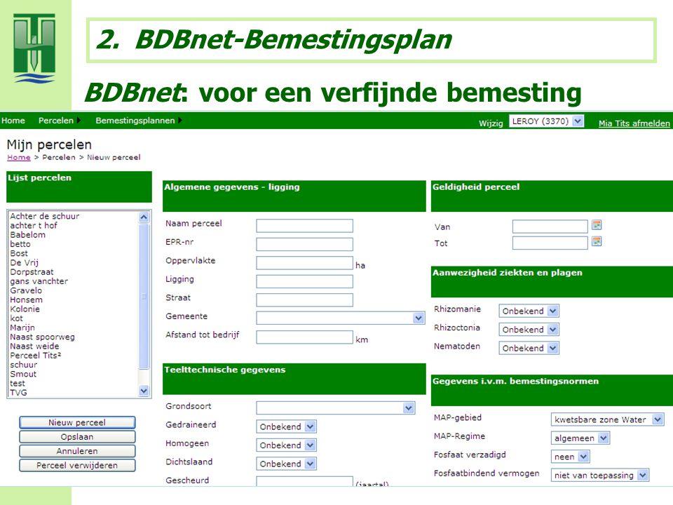 BDBnet: voor een verfijnde bemesting 2.BDBnet-Bemestingsplan