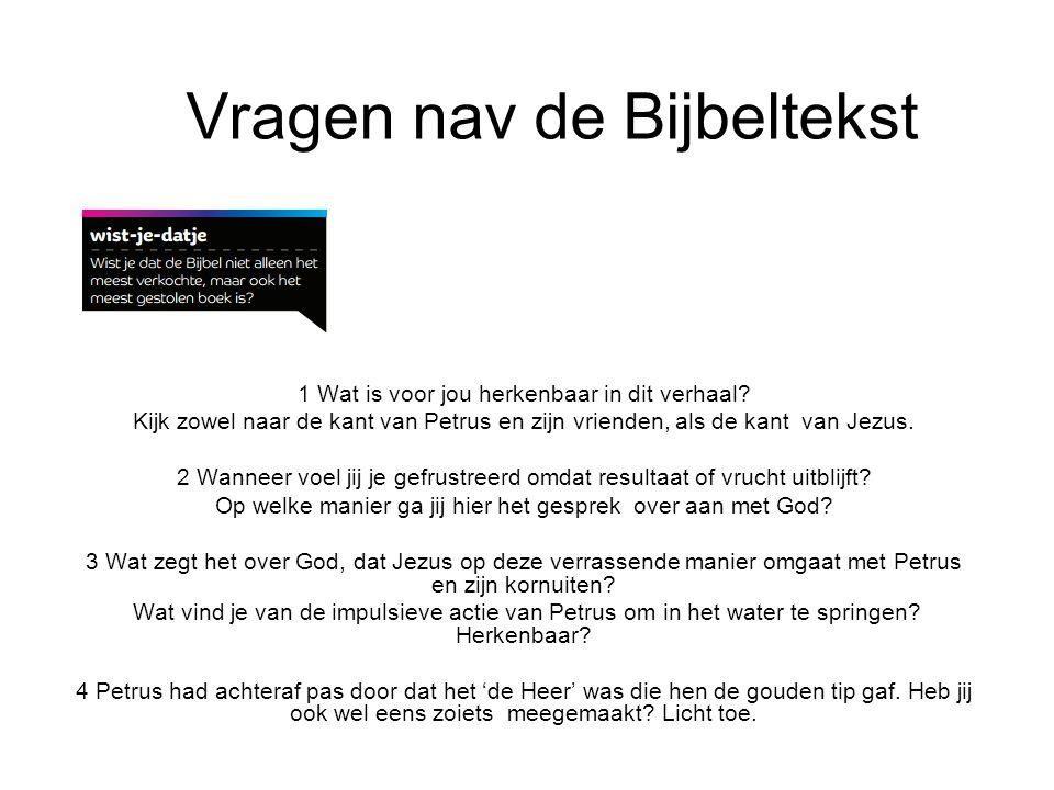 Vragen nav de Bijbeltekst 1 Wat is voor jou herkenbaar in dit verhaal.