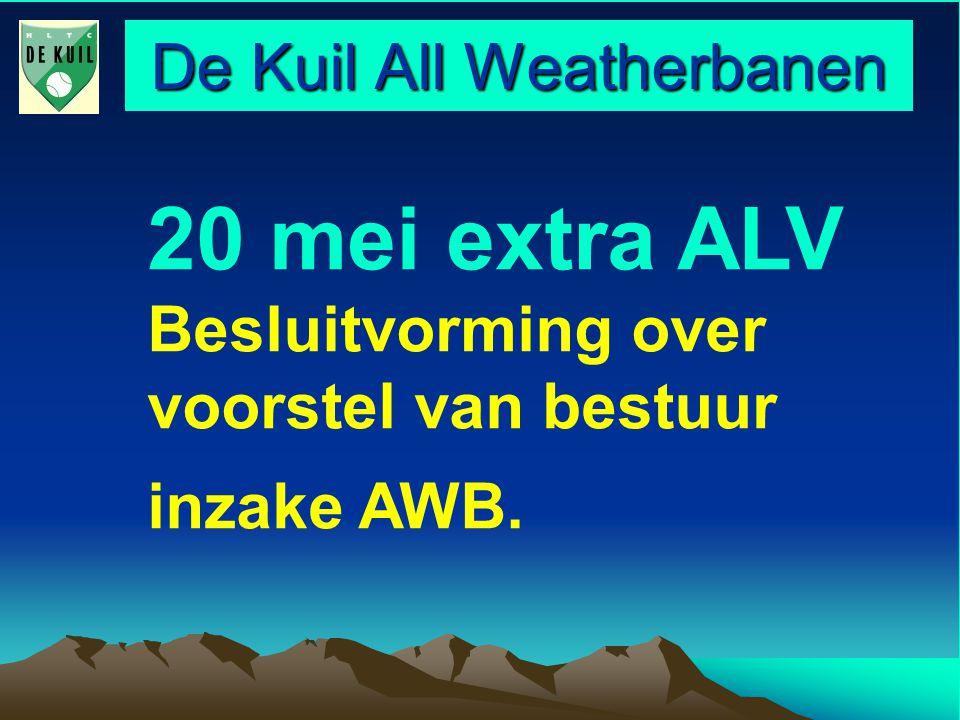 De Kuil All Weatherbanen Agenda 1.Opening/ opzet van de avond/ mededeling 2.Presentatie bestuursvoorstel, 3.Vragenronde vanuit de ALV, 4.Ronde voor Uw meningen, 5.