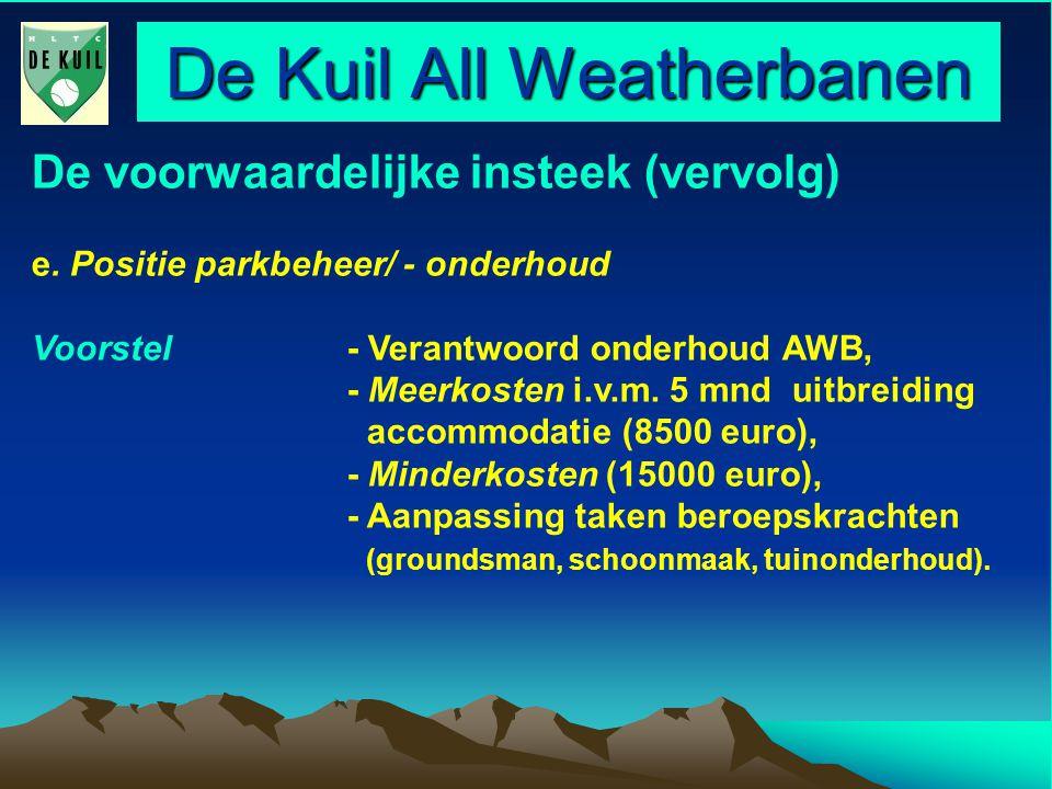 De Kuil All Weatherbanen De voorwaardelijke insteek (vervolg) e.