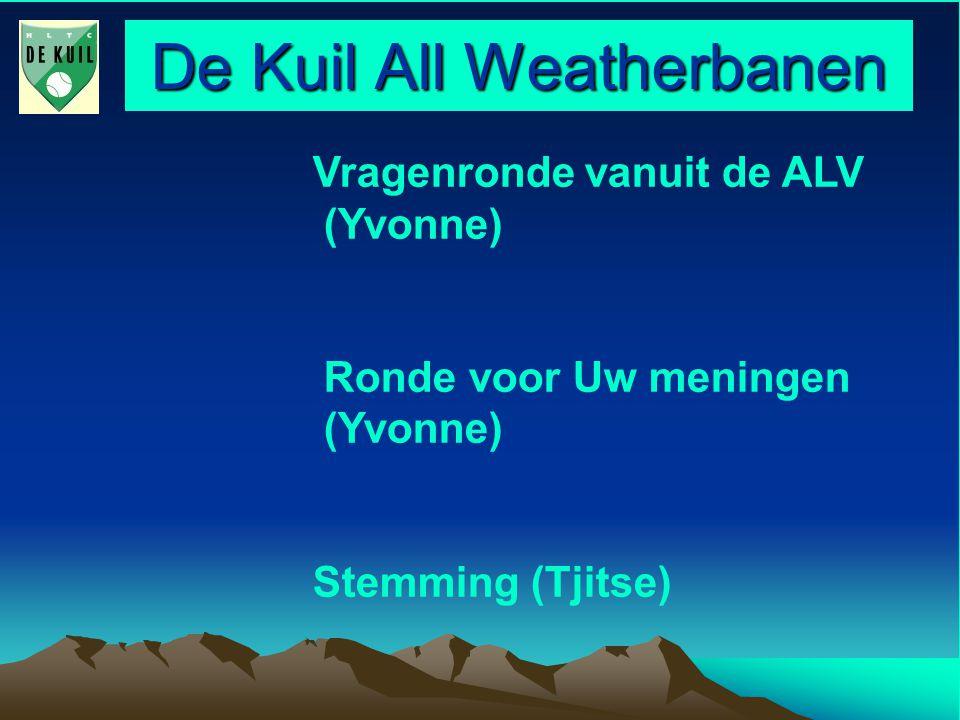 De Kuil All Weatherbanen Vragenronde vanuit de ALV (Yvonne) Ronde voor Uw meningen (Yvonne) Stemming (Tjitse)