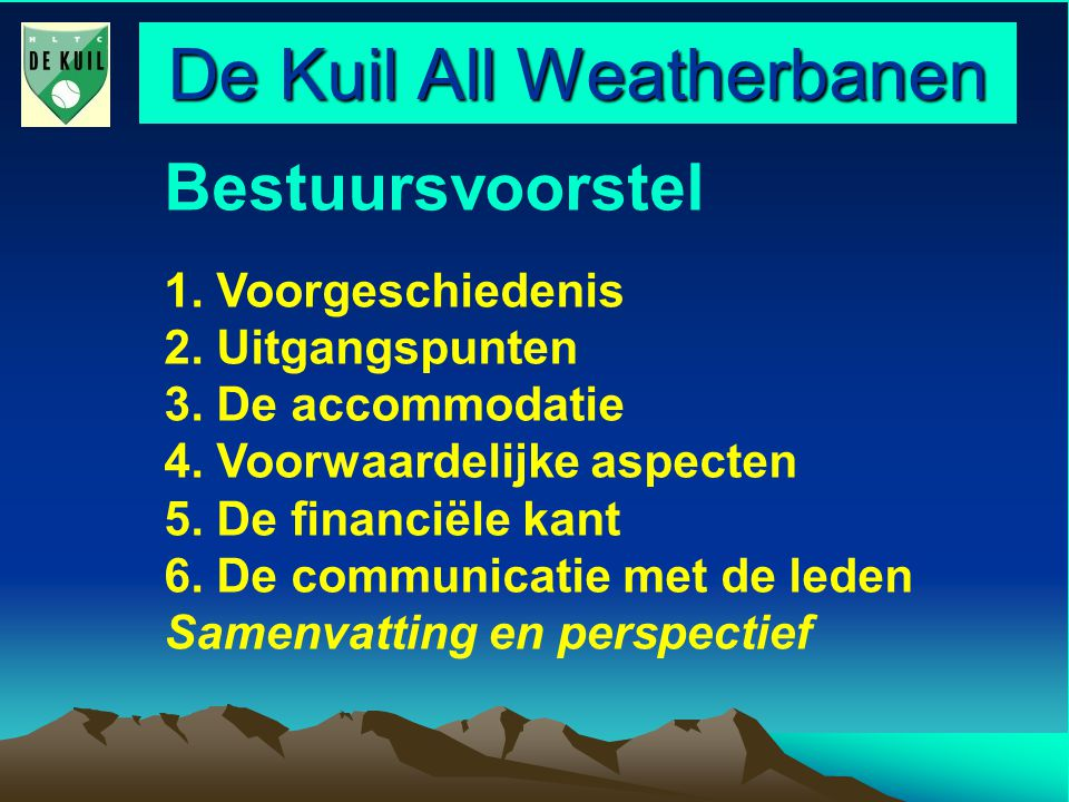 De Kuil All Weatherbanen Bestuursvoorstel 1. Voorgeschiedenis 2.